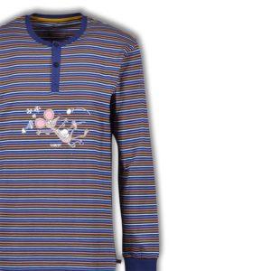 Woody Jongens pyjama donkerblauw oranje oker gestreept detailfoto