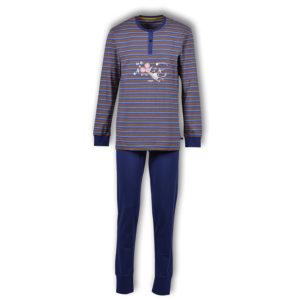 Woody Heren pyjama donkerblauw oranje oker gestreept productfoto