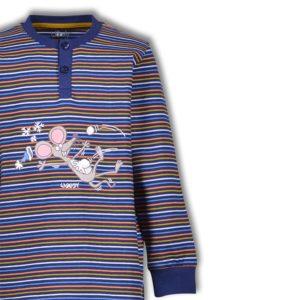 Woody Heren pyjama donkerblauw oranje oker gestreept detailfoto 1