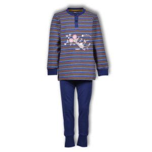 Woody Jongens pyjama donkerblauw oranje oker gestreept productfoo