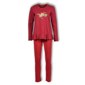 Woody Dames pyjama rood donkergrijs gestreept productfoto