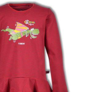 Woody Meisjespyjama rood donkergrijs gestreept detailfoto