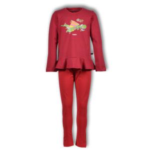 Woody Meisjespyjama rood donkergrijs gestreept productfoto