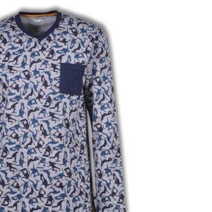 Woody Heren pyjama grijs melange skaters detailfoto