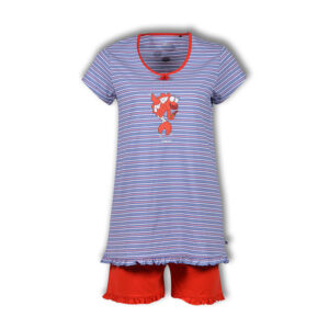 Woody Dames pyjama met short multicolor Koi gestreept