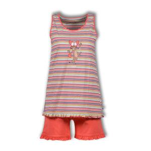 Woody Dames pyjama met short multicolor Stokstaartje gestreept