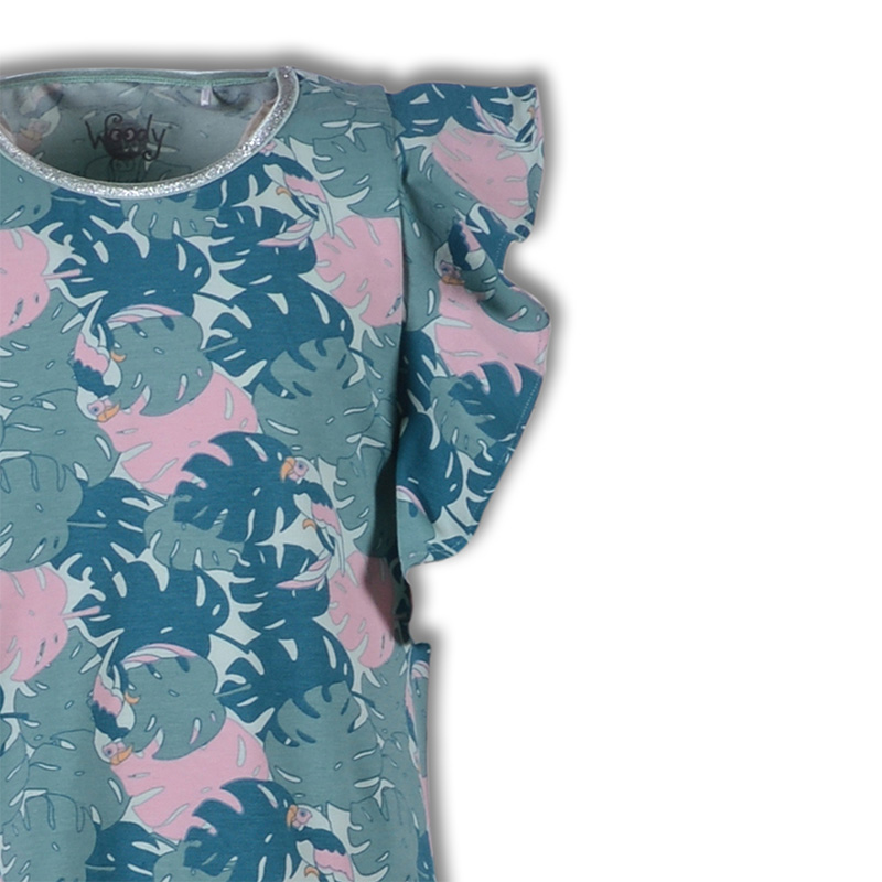Woody Meisjes Slaapkleed papegaai munt all-over print