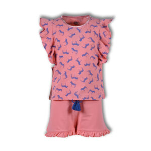 Woody Meisjes pyjama zebra roze all-over print