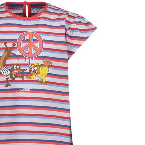 Woody Meisjes-Dames pyjama rood-blauw gestreept