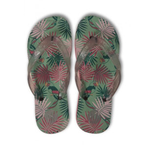 Woody Meisjes-Dames teenslippers papegaai munt all-over print