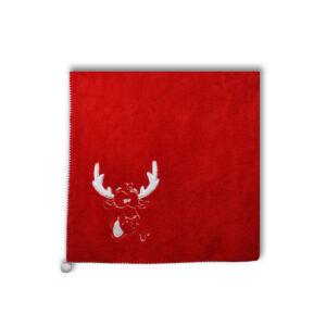 Kerst plaid met rendierprint en pomponnen productfoto